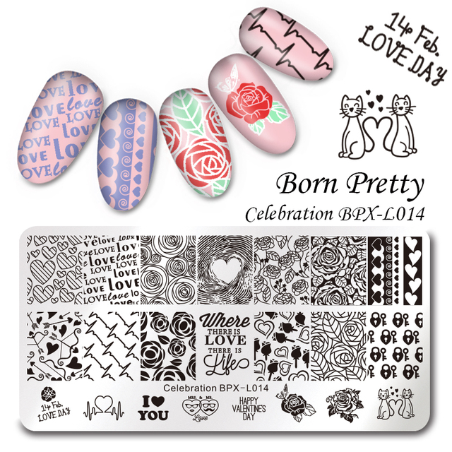 BORN PRETTY Floral Stamping Template Rectangle Various Flower Pattern Nail Art Stamp Image Plate