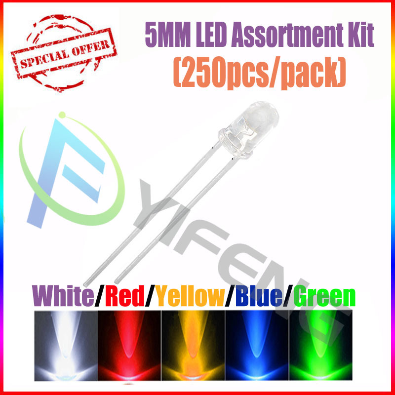 (250pcs/pack)(LEDRound 5MM) 5MM LED Assortment Kit, Ultra Bright,Water Clear, Green/Yellow/Blue/White/Red, Light Emitting Diode - Shenzhen Yi Feng science Co.,Ltd store