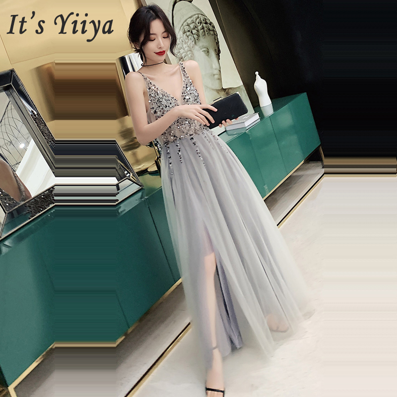 It's Yiiya Evening Dress Sleeveless Zipper Women Party Dresses Sequin Robe De Soiree 2019 Plus Size V-neck Formal Gowns E697
