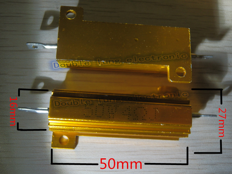 10PCS/LOT RX24 50W Watt 1R 2R 3R 4R 5R 6R 8R 10R 15R 50R 100R 220R 1K Ohm LED load resistor Aluminum Case Wirewound Resistor
