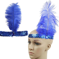 Women's Shiny Sequins Ostrich Feather Headband Show Party Headpiece Costume New Arrival