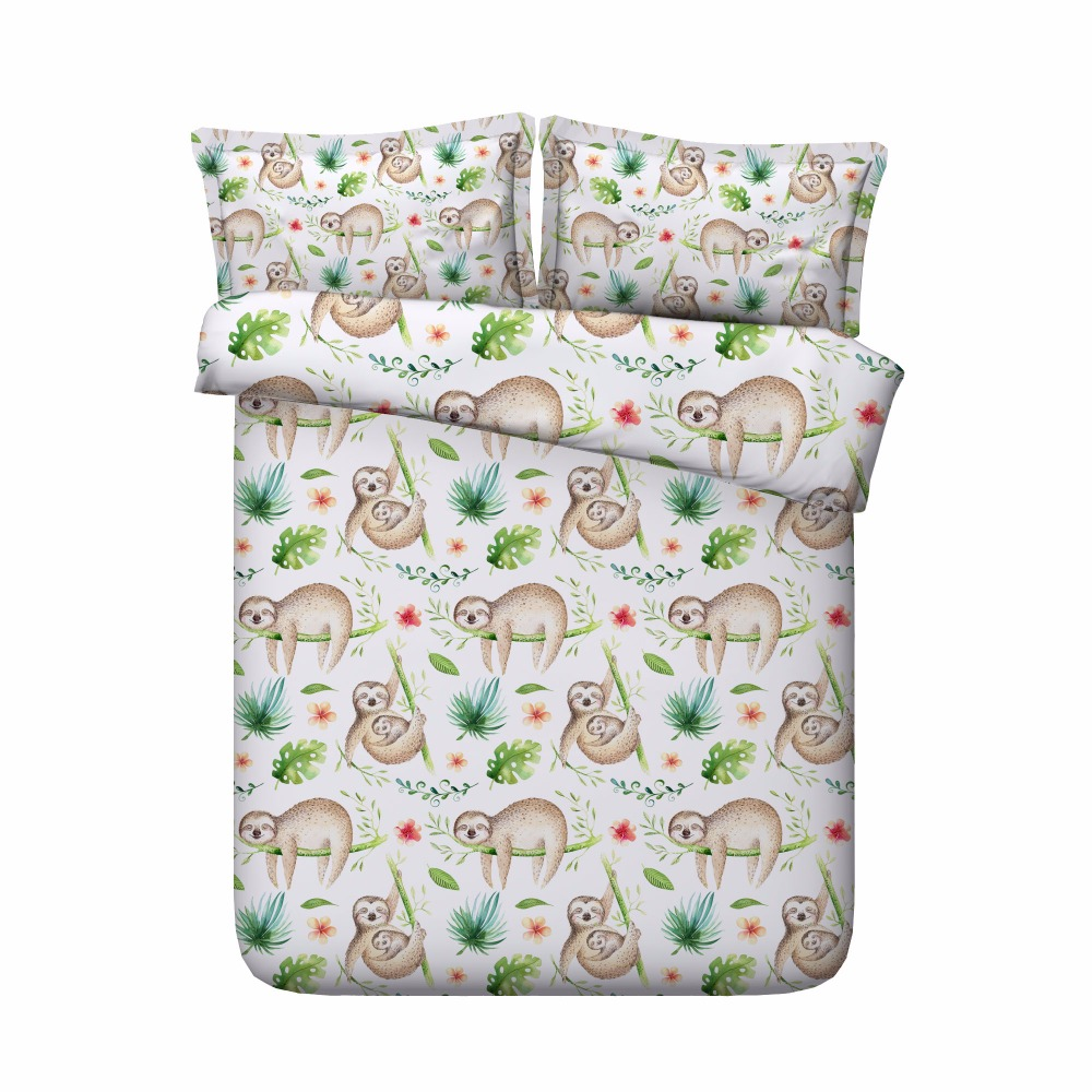500TC мультяшный Декор для спальни, японские 3D комплекты с животными, постельные принадлежности из египетского хлопка, постельное белье, пост...