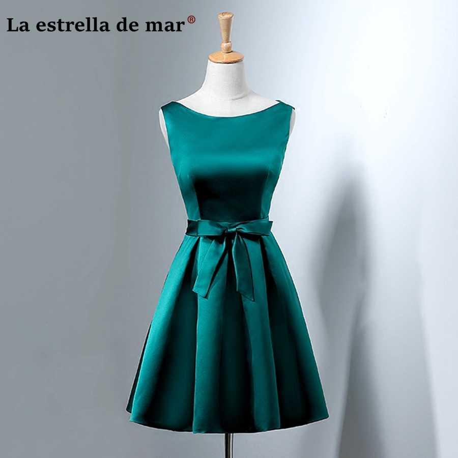 216182e6df27e vestidos de madrinha2018 new satin a Line Peacock blue dark green  bridesmaid dress short real photo