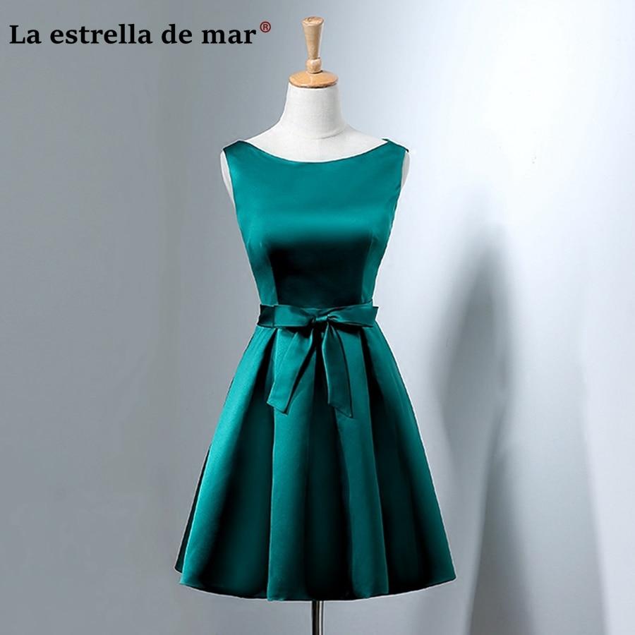 Vestidos De Madrinha2019 New Satin A Line Hunter Green Bridesmaid Dress Short Real Photo Wedding Party Dress