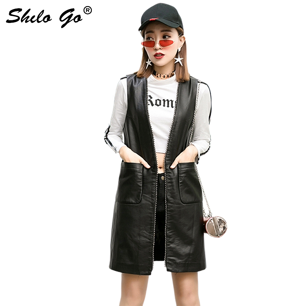 Casual Long Leather Vest Women Summer Concise Sheepskin Genuine Leather Long Vest Side Pocket Sleeveless Female Open Stitch