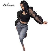 Echoine Women T-Shirts Long Puff Sleeve Mesh See Through Fashion Tunic Tops O-Neck Sexy Crop Tee Sheath Fit Beauty Streetwear