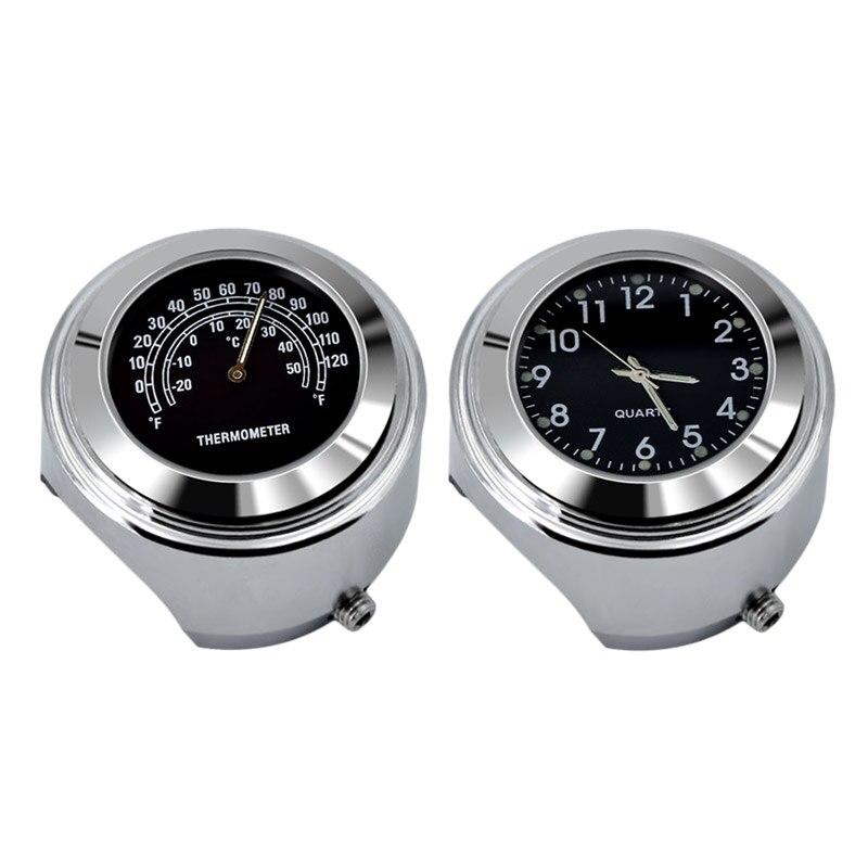 7/8 Waterproof Motorcycle Handlebar Mount Dial Clock Watch+Temp Thermometer