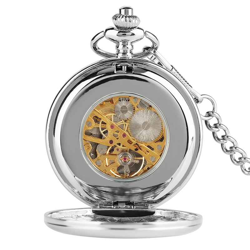 2018 New Arrival Smooth Design Double Full Hunter Skeleton Mechanical Pocket Watch for Men Steampunk Silver Hand Winding Watches (6)