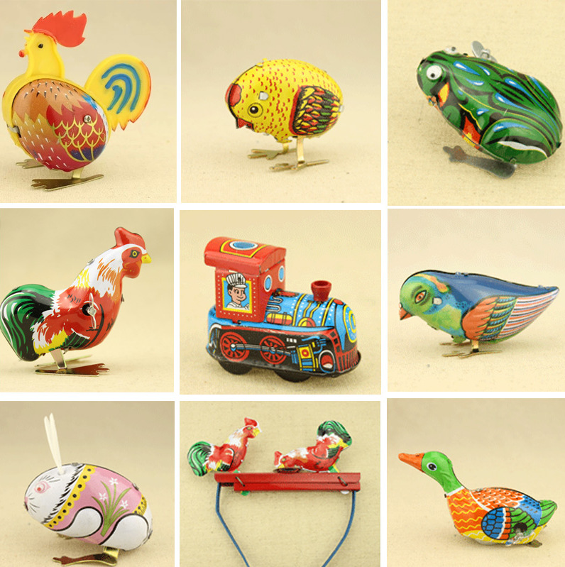 все цены на Kids Classic Toy Tin Wind Up Clockwork Toys Jumping Iron Frog Rabbit Cock Toy New Action Figures Toy For Children
