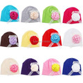 2015 NEW Children Accessories Rose Floral Lace Baby Hat Newborn Girl Cotton Beanie Infant Spring Hat 12 Colors 0-3 months