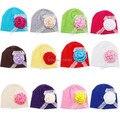 2015 NUEVOS Accesorios de Los Niños Rose Floral Lace Sombrero Del Bebé Recién Nacido Niña de Algodón Beanie Sombrero Infantil de Primavera 12 Colores 0-3 meses
