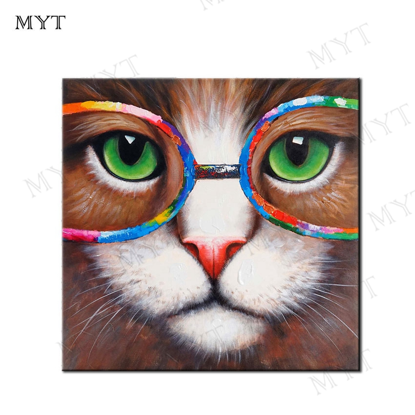 MYT Free Shipping 100% Hand painted Canvas Knife Pop Art Animal Oil Painting Garfield Wore Glasses Modern Decor Image Home Decor