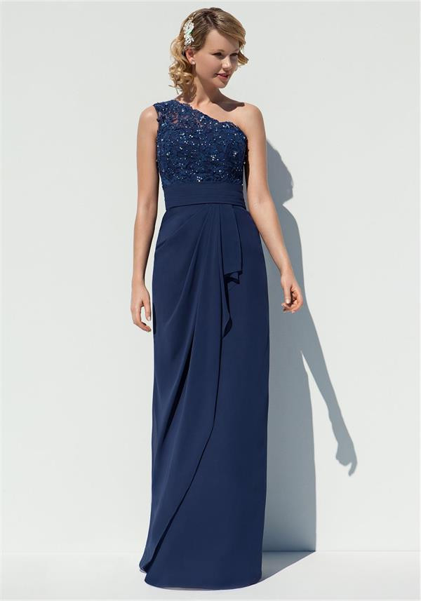 2016 elegant long navy blue one shoulder bridesmaid dress simple cheap appliques lace wedding guest gown for formal party