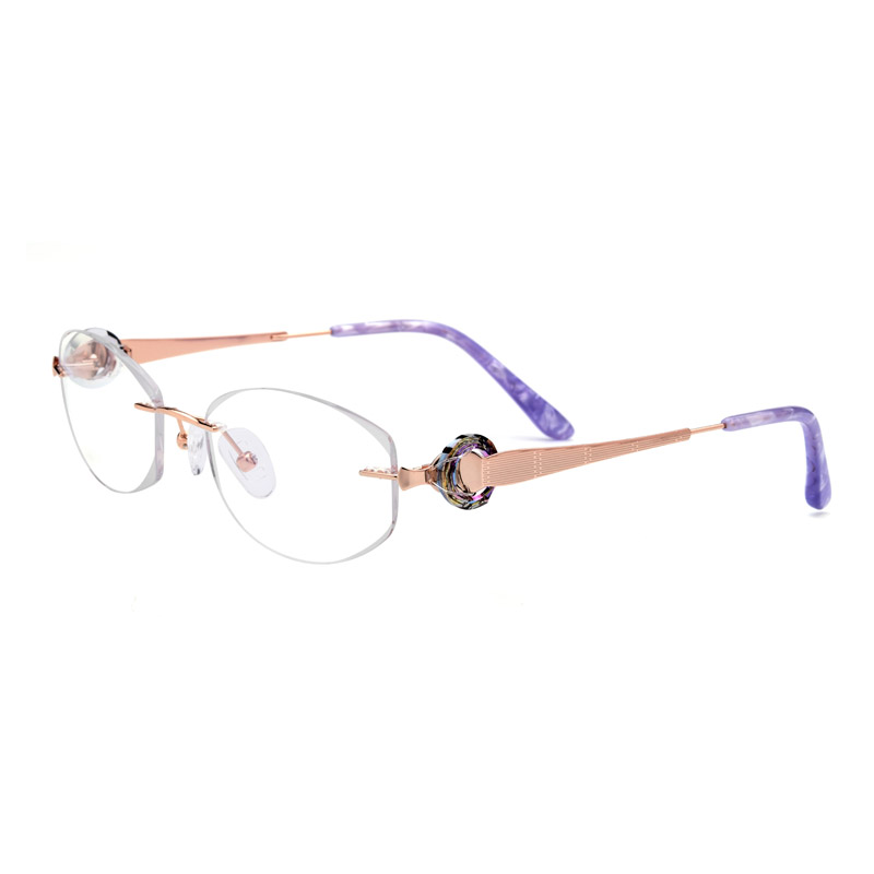 Titanium Rimless Drilling Women Eyeglasses Gold Optical Frame Fashionable Diamond Clear Glasses