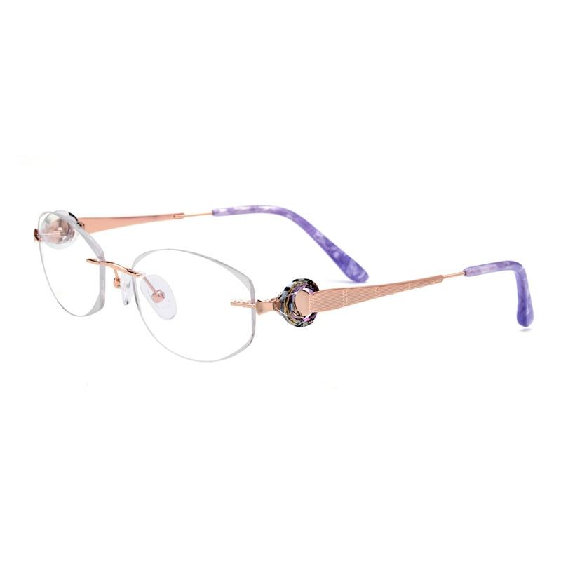 Titan Randlose Bohren Frauen Brillen Gold Optische Rahmen Modische Diamant Klare Gläser