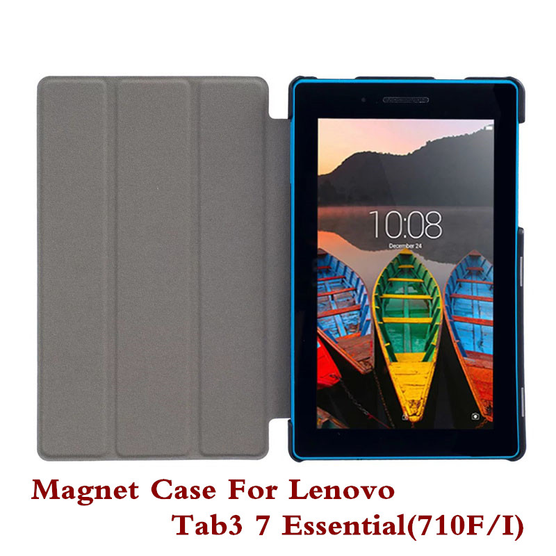 Pu Leather Tablet PC Case Stand Design Cover Skin For Lenovo Tab3 7 Essential 710F 710I Tab 3 Screen Protector Film Pen As Gifts 3 in 1 new ultra thin smart pu leather case cover for 2015 lenovo yoga tab 3 850f 8 0 tablet pc stylus screen film