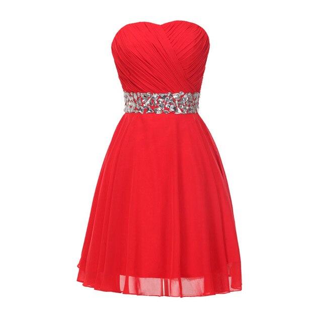 Cheap Bridesmaid Gowns 2016 Vestidos De Damas De Honra Red Chiffon Rhinestones Short Bridesmaid Dresses