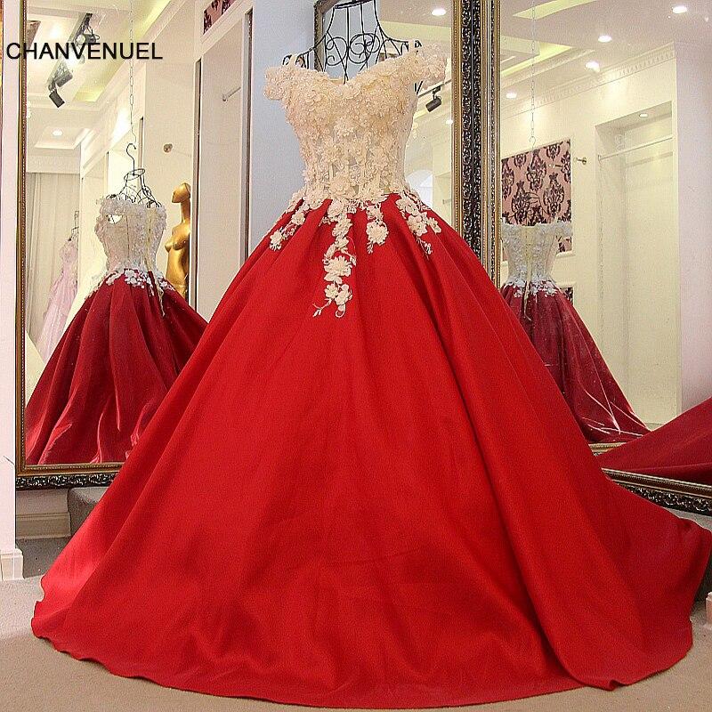LS32774 붉은 꽃 이브닝 드레스 어깨 공주 드레스 2096