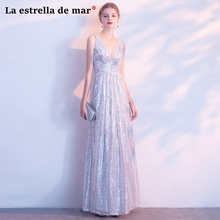 Gaun pesta dewasa new sexy V neck A Line silver sequins wedding guest dress cheap vestido de festa longo custom