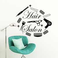 Hair Salon Wall Decal Sticker Beauty Salon Hair cuttin Tools Mural Wall Ssticker Barber Shop Decor Vinyl Interior Art Design