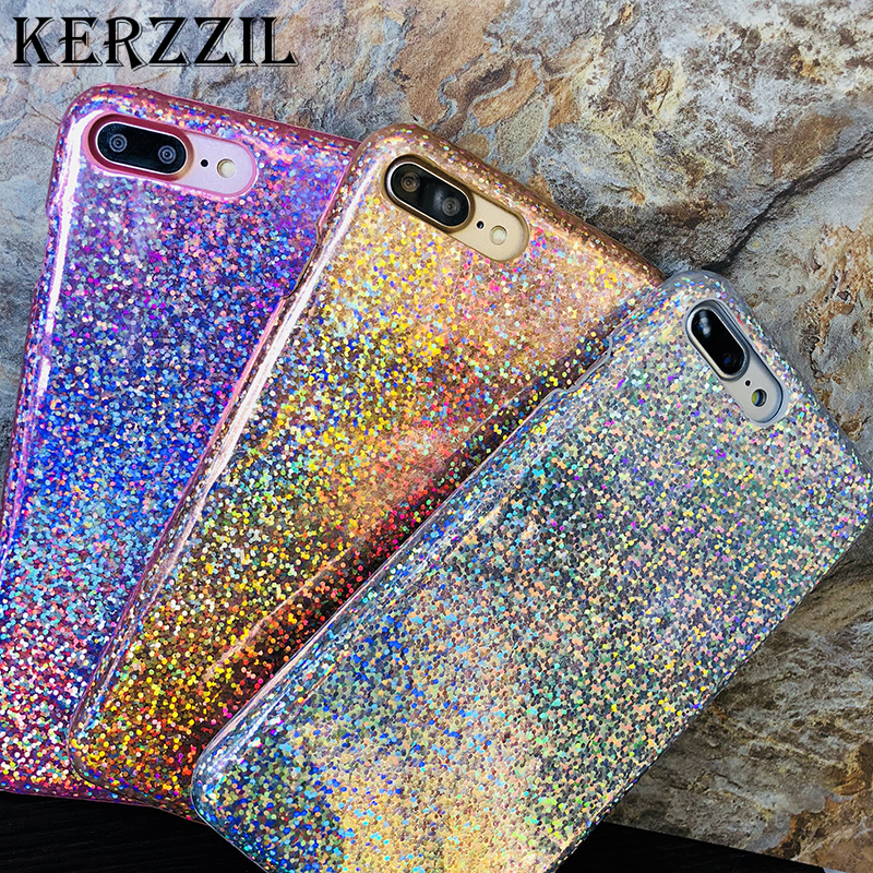 Kerzzil Luxury Bling Glitter Laser Phone Case For iPhone 8 Case Fish Scales PC Leather Cover Cases For iPhone 6 6s 7 8 Plus X 10