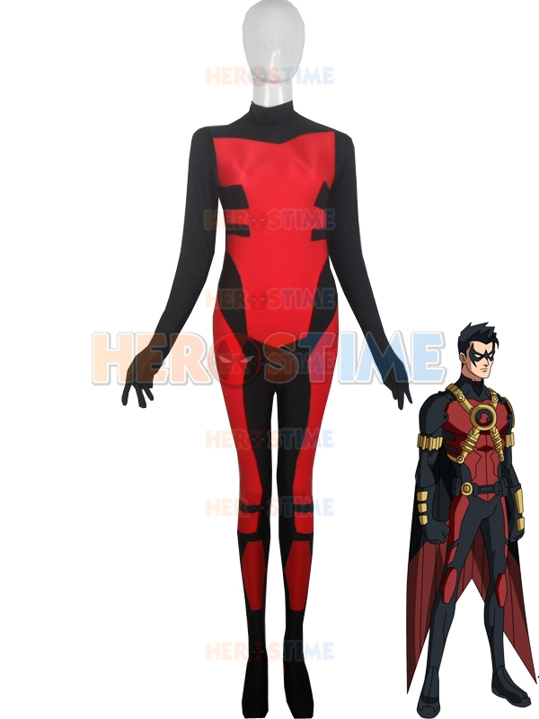 Custom Made Red Robin Costume Tim Drake Spandex Man Superhero Costume halloween party cosplay zentai suit free shipping
