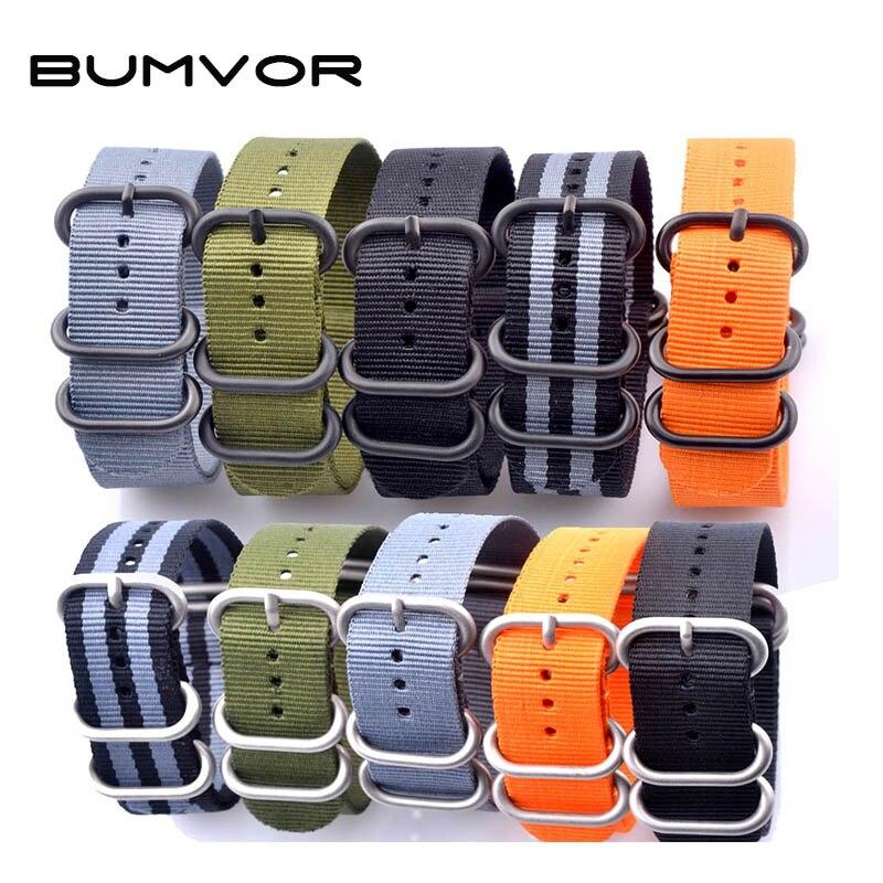 купить BUMVOR 6 Colors NATO Watchband Nylon Strap Black Ring Buckle 18mm 20mm 22mm 24mm Striped Replacement Band Watch Accessories по цене 197.65 рублей