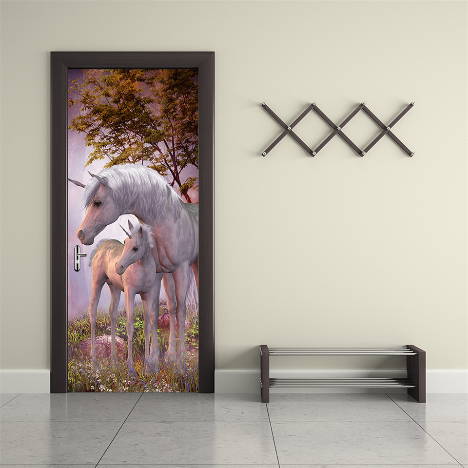 White Unicorn Animals Door Sticker For Living Room Bedroom Horse Waterproof Vinyl Decor Decal Removable Self-adhesive Wallpaper