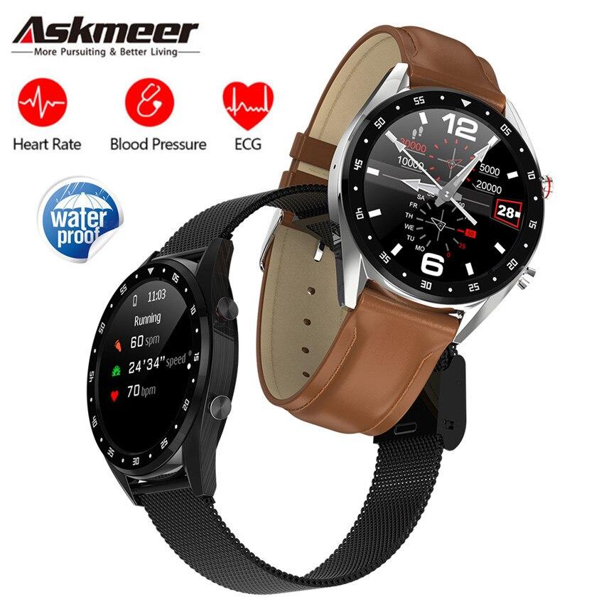 ASKMEER L7 Bluetooth Relógio Inteligente Homens IP68 ECG + PPG VFC Heart Rate Monitor de Pressão Arterial Inteligente À Prova D' Água Banda para IOS Android