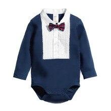 Cute Newborn Baby Boy Climb Clothes Triangle Romper Bowknot Jumpsuits 0-12M LS9