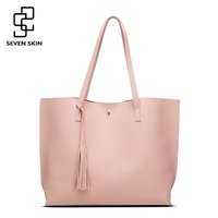 SEVEN SKIN Brand Women Shoulder Bags Soft Leather Top Handle Bag With Tassel Female Casual Tote