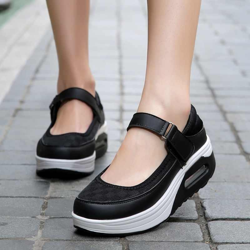 แฟชั่น Mary Jane รองเท้าผู้หญิงฤดูร้อน Swing รองเท้าผู้หญิงแพลตฟอร์มรองเท้ารองเท้าเบาะรองเท้าผู้หญิงรองเท้า Breathable รองเท้าสีขาว PLUS 42