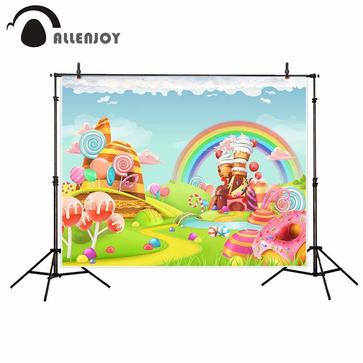 Us 945 32 Offallenjoy Photography Backdrop Rainbow Cartoon Candy House Child Fairy Tale Background Newborn Original Design For Photo Studio In
