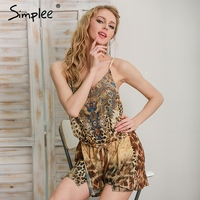 Simplee Leopard Print Brown Jumpsuits Romper Women Summer Beach Sexy Sleeveless Overalls 2017 Backless Strap Chiffon