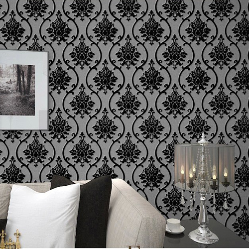 Black velvet flock wallpaper luxury damask wall paper for Black white damask wallpaper mural