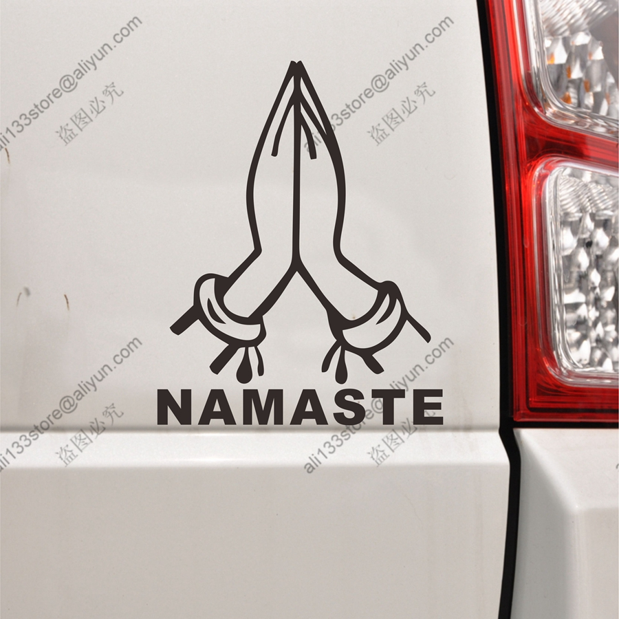 Car sticker design in india - Namaste Hand Gesture Car Decal Sticker Vinyl Symbol Yoga India Die Cut No Background Pick Color