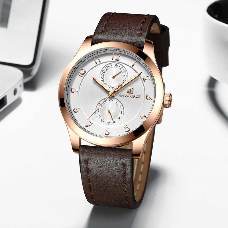 Montres Ultra minces NAVIFORCE hommes montres haut de gamme en cuir de luxe montre-bracelet hommes d'affaires Simple Quartz mode montre-bracelet nouveau