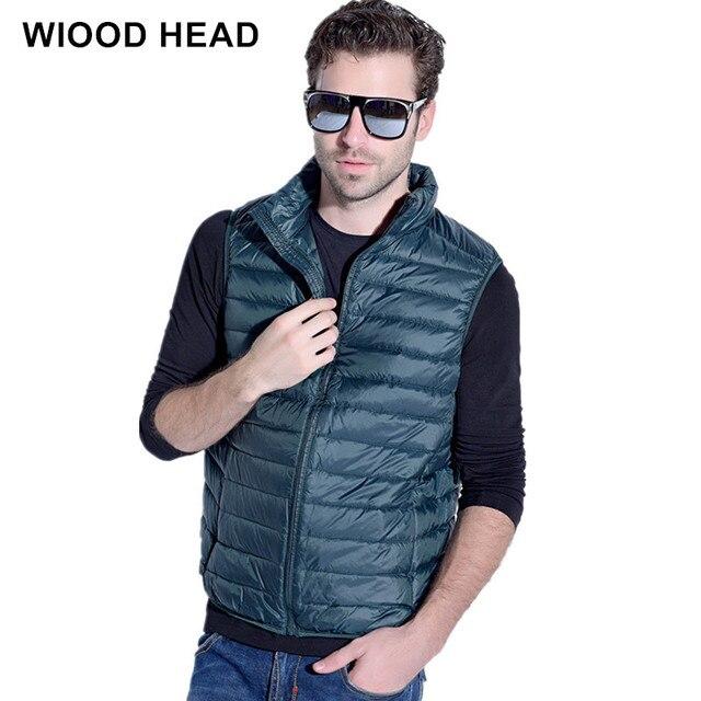 2017 Casual Nhãn Hiệu Áo Khoác Không Tay Mùa Đông Siêu Nhẹ Màu Trắng Vịt Xuống Vest Nam Vest Mỏng Mens Windproof Ấm Xuống Jackets