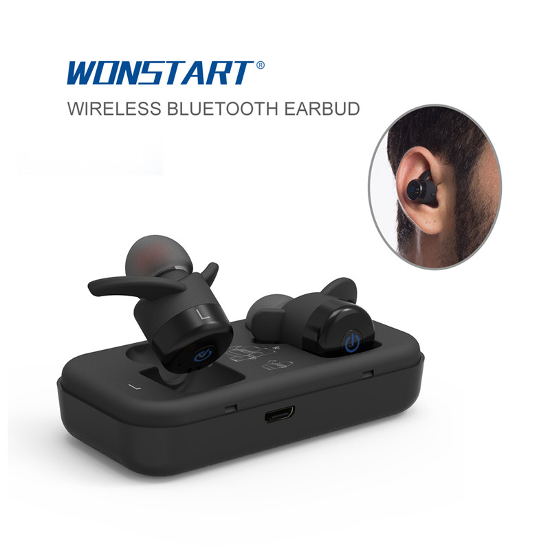 ФОТО Mini Bluetooth Wireless Earbud Wireless Bluetooth Earphone Noise cancelling With Microphone For Iphone 7 Red Color Wonstart W302