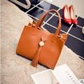 The new 2016 pu leather shoulder bag handbag tassel aslant fashion new BaoChao simple pure color package