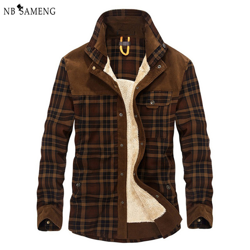 ФОТО Men Winter Flannel Thick Plaid Dress Shirt Long-Sleeve Fashion Cotton Casual Shirts Quality British Style Fleece Wear Male Army