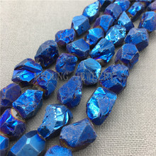 MY0100 Free Shipping Rough Cut Crystal Nugget Titanium Quartz,Dark Blue Coated Quartz Drilled Beads for Jewelry Making