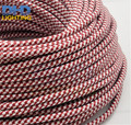 Free shipping red&white mixed color cable 100Meters 2x0.75 Vintage textile Cable Retro fabric Electrical Wire fabric cable cord