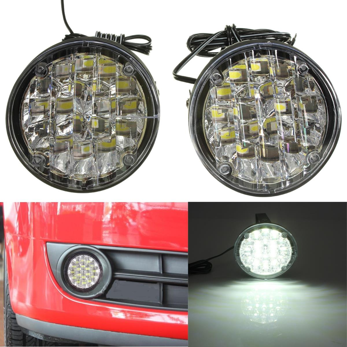2Pcs 12V 18 LED Round Car Driving Daytime Running Light DRL Fog Lamp Bright White Car LED Offroad Work Light