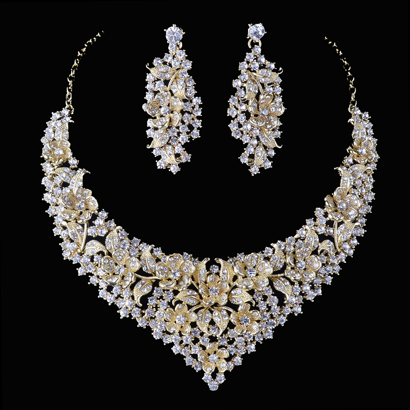 Crystal women wedding jewelry sets golden plated flower deisgn Bridal party necklace earrings set AB crystal jewelry accessories luxury rhinestone bridal necklace earrings set crystal ab color aurora color evening party jewelry set drop water flower style