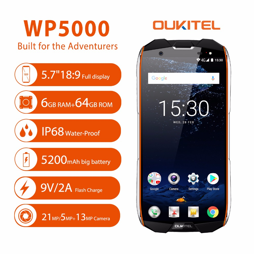 <font><b>Oukitel</b></font> <font><b>WP5000</b></font> Smartphone IP68 Waterproof 18:9 16MP+8MP <font><b>6GB</b></font> RAM <font><b>64GB</b></font> ROM 5.7 Inch Octa Core Helio P25 9V2A 4G Mobile Phones image