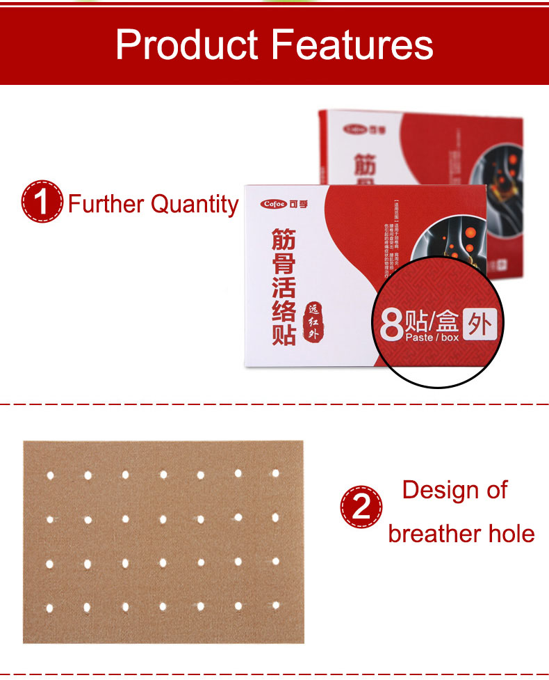 Cofoe Pain Relief orthopedic Plaster, Muscle Aches Pain Relieving Patche's for Aches of muscles & joints 8 Pack/box 7cm*10cm 4