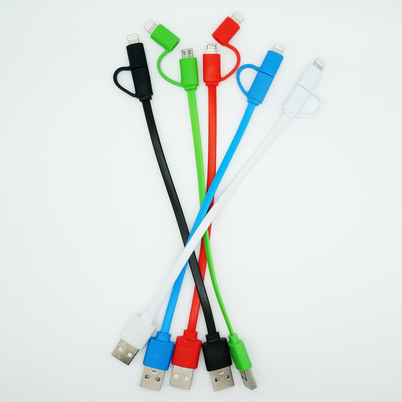 Wholesale 2 in 1 Micro USB Cable Short Charging Cables For iPhone 5 5S 6 6S Charger Cord For Android 20cm Free Shipping