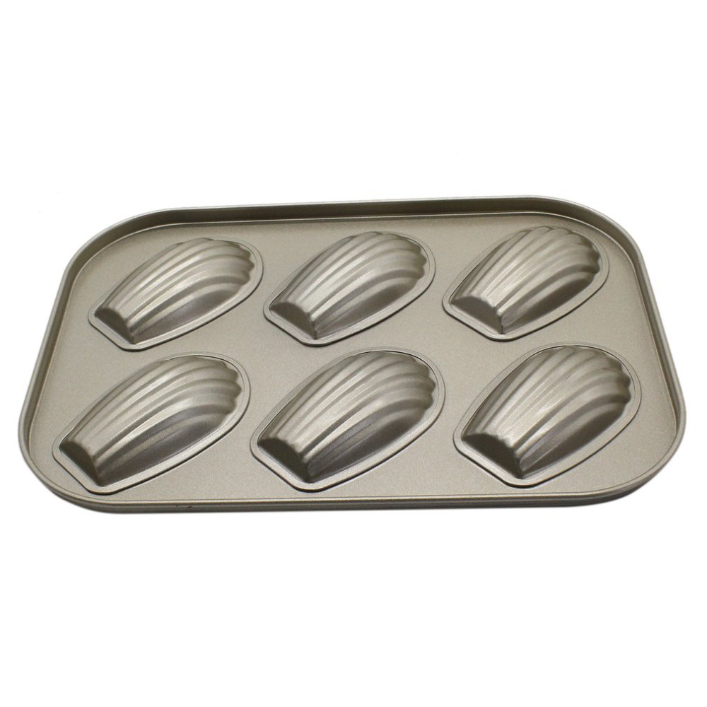 Six-Grid Baking Tray Shell Shape Cake Baking Mold DIY Mold Baking Tool Carbon Steel Non-Stick Wear Resistant Kitchen Supplies