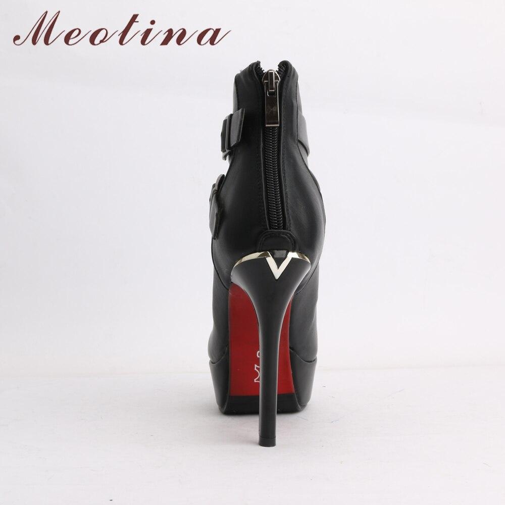 De Invierno Botón Negro Tobillo verde Rojo Mujer Señoras Verde Botas Zapatos Tacón Alto Hebilla Plataforma Meotina Cremallera d4nqFdUTxw